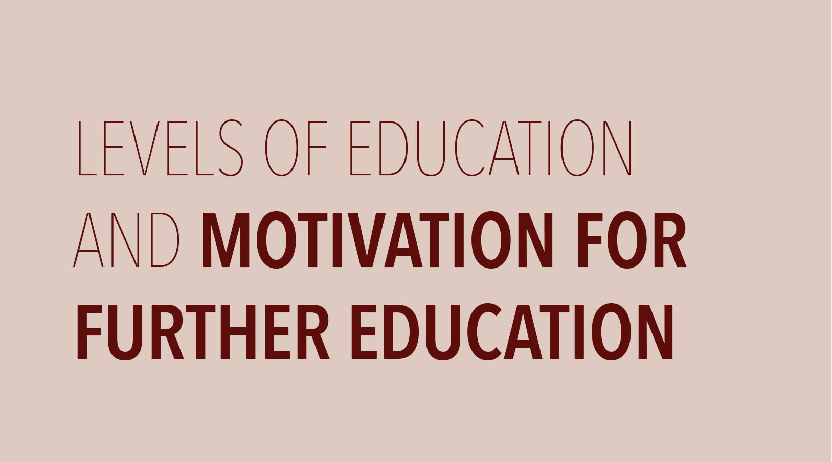 Levels of Education & Motivation for further Education
